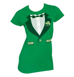 Irish Tux St. Patrick's Day Womens Graphic Tee Shirt