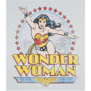 WONDER WOMAN Star Ring Baby Blue Juniors Graphic TShirt