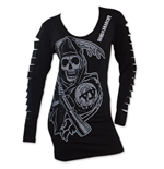 Women's SONS OF ANARCHY Grim Reaper Ripped Sleeve Shirt