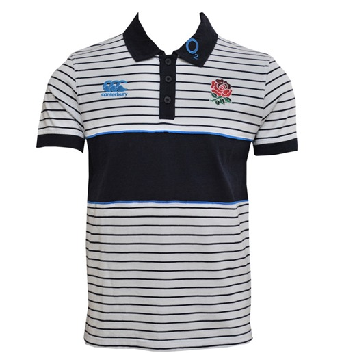 2013-14 England Stripe Polo Shirt (White)