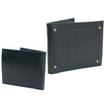 JACK DANIEL'S Bifold Leather Patch Wallet with Engraved Classic Logo, Black