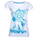 NINTENDO SUPER MARIO BROS. Mario Womens Medium T-Shirt, White/Blue