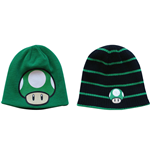 NINTENDO SUPER MARIO BROS. 1UP Mushroom Reversible Beanie, Black and Green