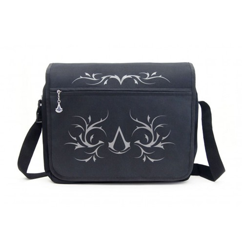 ASSASSIN'S CREED Premium Messenger Bag with Crest & Tribal Design, Black