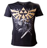 ZELDA Men's Gold Link Logo Small T-Shirt, Black