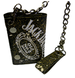 JACK DANIEL'S Painted Worn Leather Tri-fold Wallet with Chain, Black