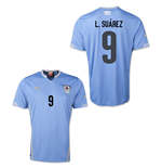 2014-15 Uruguay World Cup Home Shirt (L.Suarez 9)