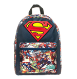 DC COMICS SUPERMAN Big Logo Backpack with Comic Artwork, Dark Blue