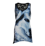 SPIRAL White Wolf Vest with Goth Lace Bottom, All-Over, Sleeveless, Adult Female, Large, Black