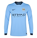 2014-2015 Man City Home Nike Long Sleeve Shirt