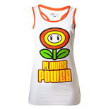 NINTENDO SUPER MARIO BROS. Girls Flower Power Medium Tank Top, White/Orange
