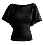 SPIRAL Plain Latin Visco Top with Boat Neck, Adult Female, Extra Large, Black