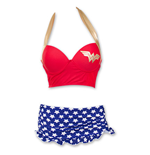 WONDER WOMAN Underwire Bustier Ruffle Skirt Bikini Swimsuit