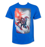 Marvel CAPTAIN AMERICA Cyclops Attack Blue Tee Shirt
