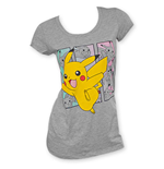 POKEMON Grey Women's Pikachu Boxes Tee Shirt