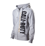 CALL OF DUTY Advanced Warfare Medium Full Length Zipper Hoodie with Large Vertical Logo, Light Grey