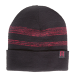 DESTINY Striped Beanie Hat with Hunter logo Patch, Red/Black