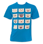 ADVENTURE TIME Men's Blue Finn Faces Tee Shirt