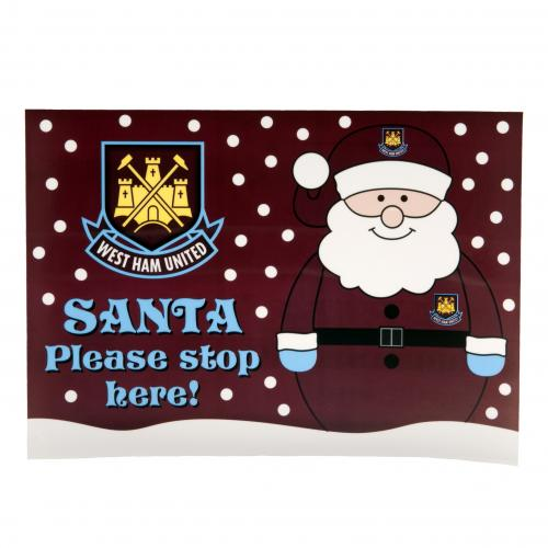 West Ham United F.C. Santa Stop Here Window Sticker