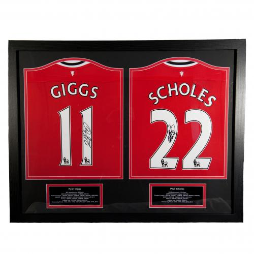Manchester United F.C. Giggs & Scholes Signed Shirts (Dual Framed)