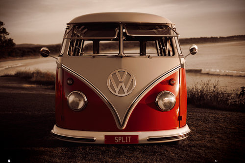 VW Red Kombi Maxi Poster