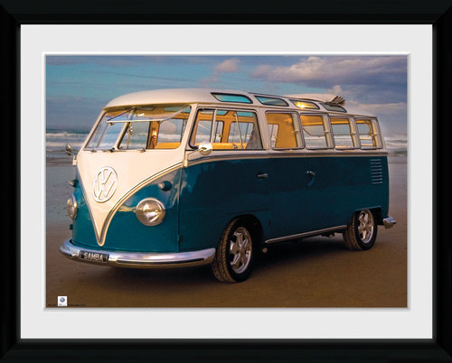 VW (Brendan Ray) Blue Kombi Framed Collector Print