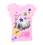 Disney FROZEN Girls 7-16 Pink Olaf Tee Shirt