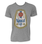 NATURAL LIGHT Men's Grey Full Color Label T-Shirt