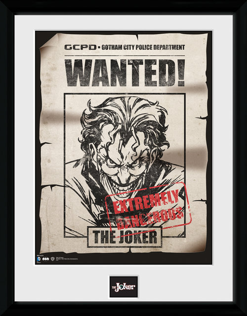 Batman Comic Joker Wanted Framed Collector Print