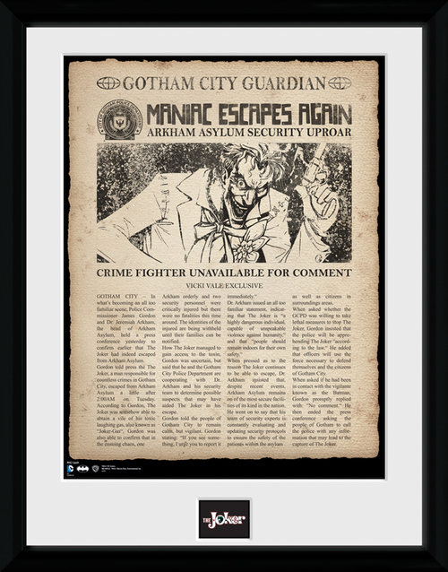 Batman Comic Joker Escpaes Framed Collector Print
