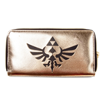 NINTENDO Legend of Zelda All-Around Zip Purse Wallet with Link Logo, Gold/Black