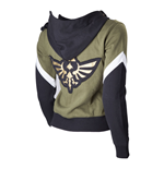 NINTENDO Legend of Zelda Female Royal Crest Full Length Zip Hoodie, Extra Small, Green/Black