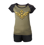 NINTENDO Legend of Zelda Skyward Sword Female Royal Crest Shortama Nightwear Set, Large, Military Green/Black
