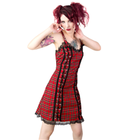 Black Pistol Eyelett Mini Dress Tartan