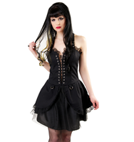 Black Pistol Punk Mini Dress Denim