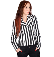 Black Pistol Biker Lady Jacket Stripe Denim