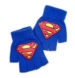 DC COMICS Superman Fingerless Gloves with Rubber Classic Logo, Blue