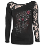 Angel Beads - Lace One Shoulder Top Black