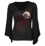 White Rose - V Neck Goth Sleeve Top Black