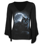 Mystical Moonlight - V Neck Goth Sleeve Top Black