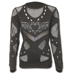 Tribal Heart Tattoo - Mesh Holes Grunge Top Black