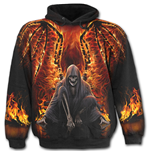 Flaming Death - Allover Hoody Black