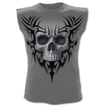 Solemn Skull - Sleeveless T-Shirt Charcoal