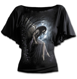 Angel Lament - Boat Neck Bat Sleeve Top Black