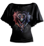 Dragon Heart - Boat Neck Bat Sleeve Top Black