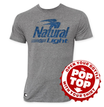 NATURAL LIGHT Men's Gray Pop Top T-Shirt