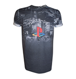 SONY PlayStation City Landscape All-Over Sublimation T-Shirt, Medium, Dark Grey