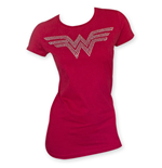 WONDER WOMAN Women's Rhinestone Logo Red Tee Shirt