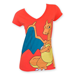 POKEMON Women's Orange Charizard Tee Shirt