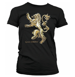 GAME OF THRONES Women's Chrome Lannister Sigil T-Shirt, Medium, Black